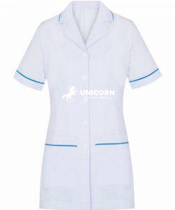 Áo điều dưỡng nữ trắng viền xanh