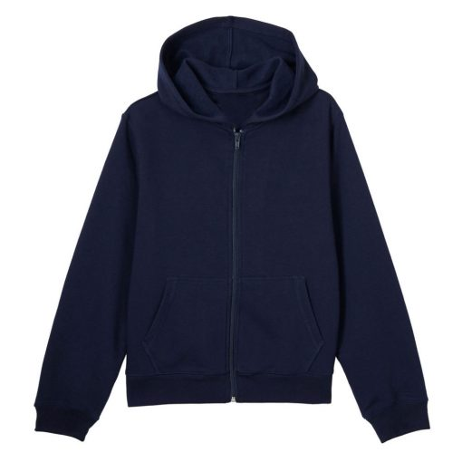 Áo khoác có nón màu xanh navy.