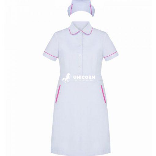 Đầm điều dưỡng trắng viền hồng cao cấp - đẹp - sang trọng!