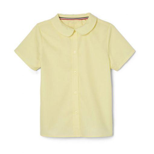 áo sơ mi ngắn tay cổ sen màu vàng