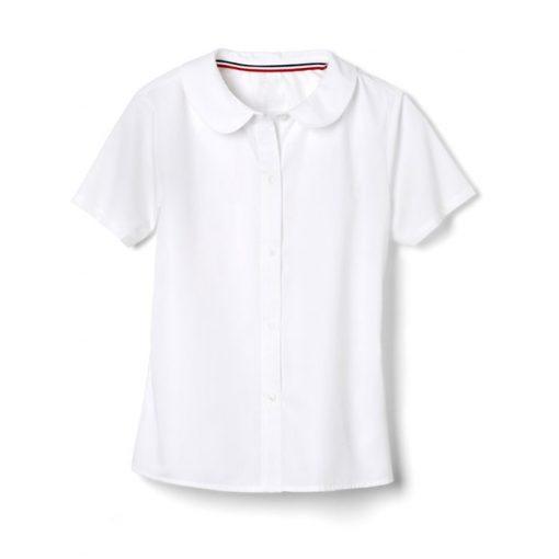 Áo sơ mi cổ sen ngắn tay đồng phục màu trắng
