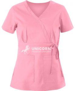 Áo điều dưỡng nơ eo màu hồng
