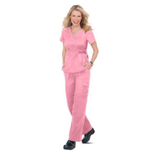 Bộ đồng phục điều dưỡng nơ eo màu hồng
