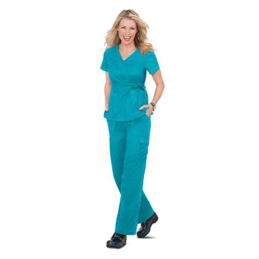 Bộ đồng phục điều dưỡng nơ eo màu xanh ngọc