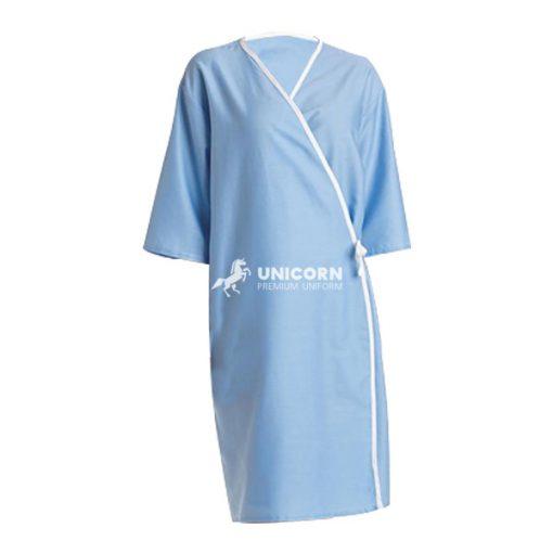 Áo choàng bệnh nhân cột trước màu xanh da trời