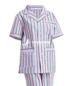 Bộ đồng phục Pyjama nữ sọc hồng