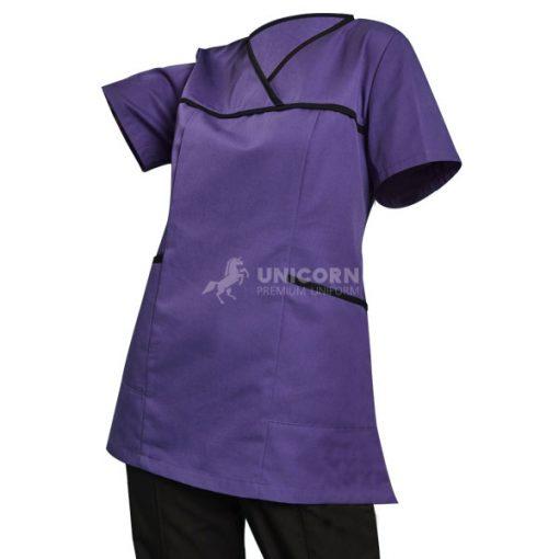 Bộ trang phục điều dưỡng tím viền đen
