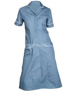 Đầm y tá cổ danton màu ngọc lam (Jean wash)