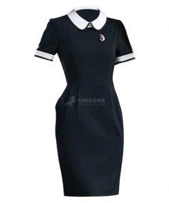 Đồng phục váy bảo mẫu cổ sen trường mẫu giáo